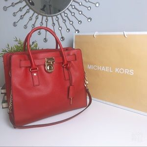 MICHAEL KORS | red Hamilton shoulder bag size L